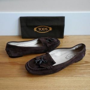 $595~TOD's~Brown Suede Tassel Mocs~Loafers~9/9.5